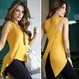 Chemise Jaune Épaulée Pas Cher-2017 Summer Solid Cross Sans manches Jaune Couleur Casual Style O-Neck Off The Shoulder Femme Mode Tops Chemises