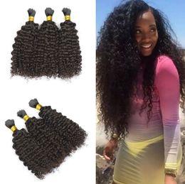 Natural Human Afro Hair Bulk NZ - Hot sale Mongolian Afro Kinky Curly human hair Braiding Hair Bulk no Attachment 100g grade 6a unprocessed Natural Black hair