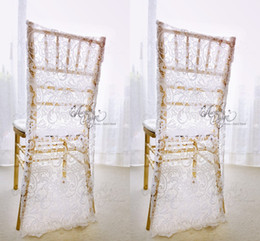 white wedding chairs wholesale UK - Charming White Lace Wedding Chair Covers Custom Made Groom and Bride Chiavari Chair Slipcover Wedding Accessories