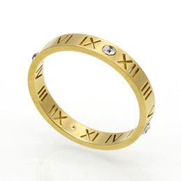 Roman Numerals Ring Wholesale UK - 18k Rose Gold Roman Numerals Crystal Titanium Stainless steel Rings Fashion Women Lovers Wedding Ring Jewelry