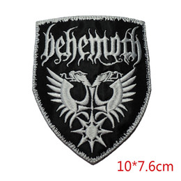Patches For Clothing Australia - New arrival Behemoth white embroidered iron on patch for Jacket Jeans Clothing Badge Stickers Appliques patch