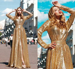 Robes De Soirée Courtes En Or Pas Cher-Shinning Gold Sequined Robes de bal Sexy Front Split Long Sleeves Evening Gowns A Line Custom Made Cheap Robes de soirée Evening Wear