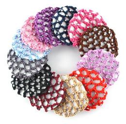 Hair Buns Holders Canada - Crystals Diamante Crochet Snood Bun Net Bun Cover Hair Net Ballet Dance Skating Hair Holder Decor with Rhinestones