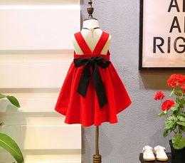 $enCountryForm.capitalKeyWord Canada - 5pcs lot 2017 big red Summer Baby Girl Toddler butterfly knot Dress Infant Princess party vest Dress Children's Dresses kids Clothing
