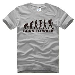 T Shirt Cotton Sport Fashion Canada - New Summer Fashion Born To Walk Evolution T Shirt Men Short Sleeve Fashion Cotton Cool Evolution T-Shirt Sport Tops