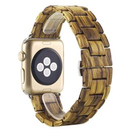 Chinese  Wooden Band,Challyhope New Fashion bamboo Wooden Band Wrist Bracelet Strap Band For Apple Smart Watch Series 1 2 38MM - Brown manufacturers