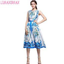 27d6b9d4070 2017 New Women Summer Dress Chinese Style Retro Blue And White Porcelain  Printed Sleeveless Runway Dress Casual Midi Vest Dress