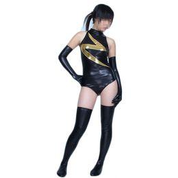 Shiny Cosplay Suit UK - Black Ms. Marvel Shiny Metallic Superhero Costume Halloween Cosplay Party Zentai Suit