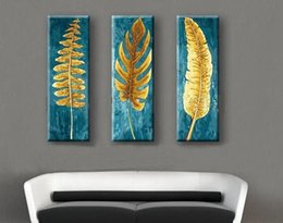 $enCountryForm.capitalKeyWord NZ - 3 Panel Pure Hand Painted Modern Abstract Art Oil Painting The Golden Leaf,Home Wall Decor On High Quality Canvas in custom sizes