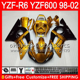 yamaha r6 gold 2019 - 8Gifts 23Color For YAMAHA YZF600 YZF R6 YZFR6 98 99 00 01 02 54HM21 Gold black YZF 600 YZF-R600 YZF-R6 1998 1999 2000 20