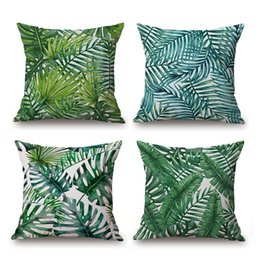 China Palm Leaf Cushion Cover Tropical Plant Thick Linen Cotton Pillow Cover 12 Styles 45X45cm Bedroom Sofa Decoration suppliers