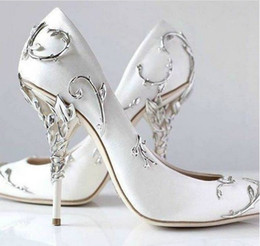 HigH Heeled sHoes for ladies online shopping - Ralph Russo Silver Leaf Brand Wedding Dress Bridal Pumps for women Thin high heels White Satin Ladies Pumps Slip on Solid Single Shoes