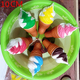 $enCountryForm.capitalKeyWord NZ - Wholesale 30Pcs 10CM Kawaii Jumbo Squishy Slow Rising Sprinkles Cream Scented Ice Cream Pendant Straps Charm Kid Toys Gift Bread Fun