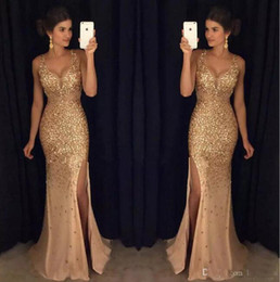 imported evening dresses Australia - Luxury 2017 Crystal Beaded Prom Dresses Long Mermaid Style Side Split Deep V-Neck Imported Party Dress Formal Evening Gowns