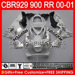 Honda Cbr929 Australia - Body For HONDA CBR 929RR CBR900RR CBR929RR 00 01 CBR 900RR 67HM23 CBR929 RR CBR900 RR CBR 929 RR 2000 2001 Fairing kit 8Gifts Repsol Silvery