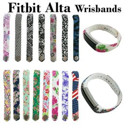 fitbit wristband straps Canada - Wholesale- 24 Colors Graphic Silicone Fitbit Alta Band Wristband Strap Bracelet Watch DIY Replacement Large & Small Fitbit Alta Sports Band