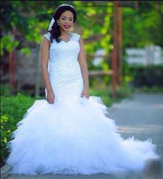 $enCountryForm.capitalKeyWord Canada - fancy NEW design mermaid wedding dresses For Fat Brides lace appliques ruffled 2018 cap sleeve beading african arabic Wedding dress