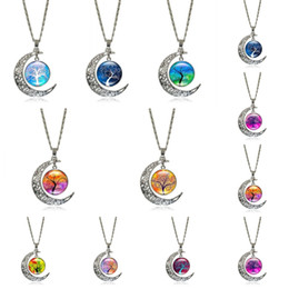 $enCountryForm.capitalKeyWord Canada - Tree Of Life Pendants Fashion Glass Necklace Starry Moon Outer Space Universe Pendants Necklaces For Women Accessories C187S