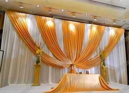 Discount backdrop swags - 3m*6m Fabric Ice Silk Drape Curtain Wedding Backdrop Decoration with Swag Party Stage Celebration Favors 20ft (w) x 10ft