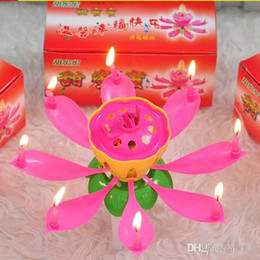 music birthday candles UK - Plastic Flower Lotus Shape Candle Single Layer Automatic Flowering Birthday Bougie Eco Friendly Pollution Free Candles High Quality 0 85ch R