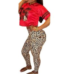 Barato Roupa De Peça Peça Sexy-Atacado- Adogirl Leopard Jumpsuit Feminino Dois Piece Outfit Short T shirt e Full Length Pants Rompers Mulheres Sexy Plus Tamanho Jumpsuits