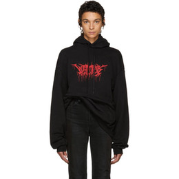 Flame print online shopping - 17FW VETEMENTS Metal Hoodies Flame Letters Printed Sweatshirts Couple Top Oversize Coats Hooded Fashion Hip Hop HFWY016