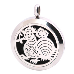Cock Necklace Canada - 10pcs New Pattern Cock Aromatherapy Essential Oil surgical Stainless Steel Pendant Neckalce Pendant Diffuser Locket