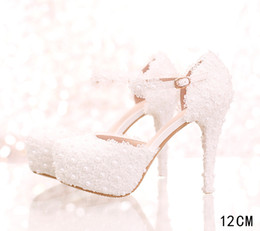 white plastic strap NZ - White Lace Women Sandals Bridal Bridesmaid Wedding Shoes with Buckle Straps Prom Evening Night Club Party Heels 12 CM Heel 063