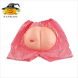 Pantalon De Plage Garçon Pas Cher-Cosplay Toys Ass Beach Pantalons Children Boys Stripe Shorts Prank Buttocks Pantalons Halloween Party Gifts Props LA502