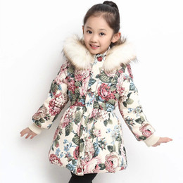 Discount Girls Winter Flower Print Coat | 2017 Girls Winter Flower ...