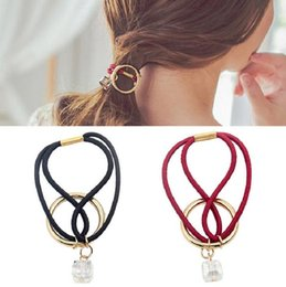 Accessoires Pour Cheveux Cystal Pas Cher-Hairband Fashion Women Accessoires pour cheveux Bandes élastiques Girl Rope Gum Rubber Band cravate porte-crayons vintage simple cystal ring