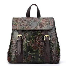 Girls Leather Genuine NZ - New arrival Women embossed genuine leather backpack mansur lady real leather travel bag, girl retro schoolbag brand designer sports bags