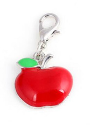 $enCountryForm.capitalKeyWord Canada - 20pcs lot Red Apple Floating Pendant Charms With Lobster Clasp Fit For Chain Locket Necklace Bracelet Making