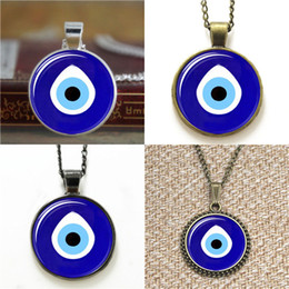 Discount photo eye - 10pcs Evil Eye Pendant Evil Eye heart Glass Photo Necklace keyring bookmark cufflink earring bracelet