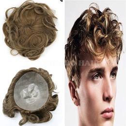 Indian Hair Wigs For Man Canada - Fashion Short 6inch Virgin Indian Hair Natural Wave Brown Hair Toupee Thin Skin Toupee for Men Free Shipping