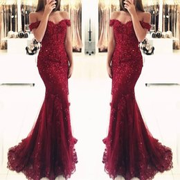 Wholesale Burgundy Lace Mermaid Appliques Off the shoulder Evening Dresses Vestido De Festa Beaded Sequins Long Prom Gowns BA3809