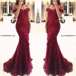 Make tulle proM dress online shopping - Burgundy Lace Mermaid Appliques Off the shoulder Evening Dresses Vestido De Festa Beaded Sequins Long Prom Gowns BA3809