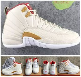 Chaussures Chinoises Bon Marché Hommes Pas Cher-Retro 12 CNY Chaussures de basket-ball chinoises New Year GS Chaussures de haute qualité Retro Retro 12s XII CNY White Red Sports Sneakers 8-13