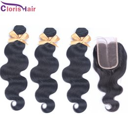 Discount tissage brazilian hair - Tissage Wet and Wavy Brazilian Hair With Closure Unprocessed Human Hair 3 Bundles with Lace Closures Cheap Body Wave Bra
