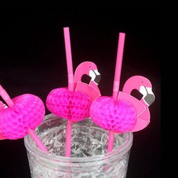 Wedding pool online shopping - Rose Red Flamingo Modeling Straw Disposable Kids Birthday Wedding Pool Party Decoration Supplies Clean Sanitation Straws ys J R