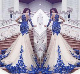 Laces Dubai Canada - 2019 New Dubai Mermaid Prom Dresses Royal Blue Lace Appliques Sheer Sexy See Through Back Long Sleeves Vestios De Fistea Evening Gowns