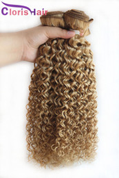 Discount tangle free hair extensions - Peruvian Blonde Curly Hair Extensions Honey Blonde Human Hair Weave 3 Bundles Cheap Color 27 Kinky Curly Blonde Weaving