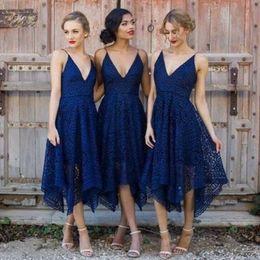 lace asymmetrical bridesmaid dresses 2019 - V Neck Lace Bridesmaid Dresses Sexy Sleeveless Ruched Tea Length Bridesmaids Dresses New Arrival Stylish Asymmetrial Wed