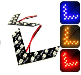 Discount car led mirror turn signals - white red blue green Yellow led Arrow Panel 14 27 33SMD LED Car Side Mirror Turn Signal Light