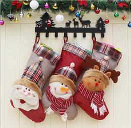 Stuffed Sock Canada - Christmas socks Christmas tree decoration supplies stuff sacks outdoor sports bags Christmas Santa Claus Snowman Elk Gift Bag