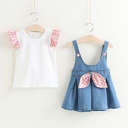 $enCountryForm.capitalKeyWord NZ - Kids Girls Sets Baby Girl Kids Girls Ruffle T-shirts + Bow Denim Skirt 2pcs Suits 2018 New Infant Girl Plaid Print Outfits Children Clothes
