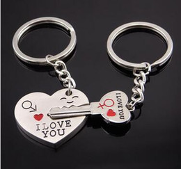 keychain packaging Canada - Lover Couple Keyring Keychain Couples Key Chain Pendant Couples Key Chain Lovers Of Key Chains Love Paper Card Packaging