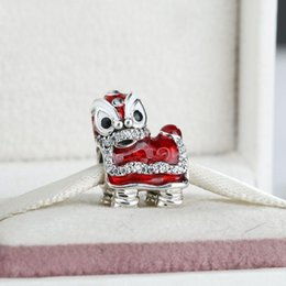 angels metal beads Australia - 2017 Valentines Chinese Lion Dance Charms Bead 925 Sterling Silver Enamel Animal Beads For Jewelry Making DIY Bracelets