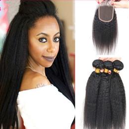 $enCountryForm.capitalKeyWord NZ - Hot Sale Kinky Straight Virgin Hair Bundles With Closure Kinky Straight 3 Pcs 100% Coarse Yaki Lace Closure Hair Extensions For Black Woman