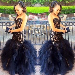 Taille Jupe Noire Pas Cher-2017 Sexy Long Robes de soirée Mermaid Sweetheart Beaded Appliques Black Girl Prom 2K17 Prom Party Robes Ruffles Skirt Plus Size Dress